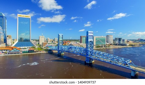 JACKSONVILLE, FL - FEBRUARY 2016: Aerial city view on a sunny day. Jacksonville is a major attraction in Florida.