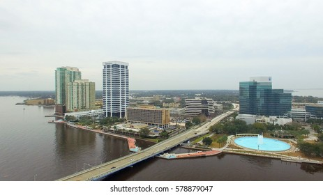 JACKSONVILLE, FL - FEBRUARY 2016: Aerial city view on a cloudy day. Jacksonville is a major attraction in Florida.