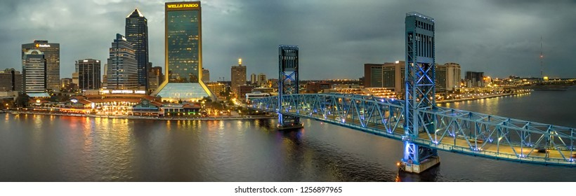 JACKSONVILLE, FL - FEBRUARY 2016: Panoramic aerial view ofcity skyline at sunset. Jacksonville is a famous destination in Florida.