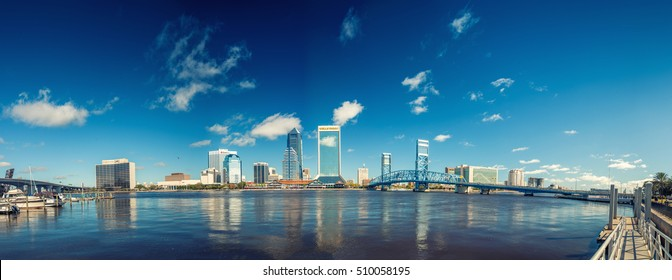 JACKSONVILLE, FL - JANUARY 2016: Panoramic view of city skyline. Jacksonville is a major city attraction in Florida.
