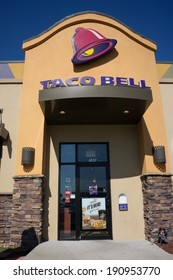 JACKSONVILLE, FL - MAY 5, 2014: The front entrance of a Taco Bell fast-food restaurant in Jacksonville. Taco Bell serves more than 2 billion customers each year in more than 5,800 restaurants.