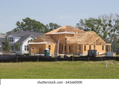 JACKSONVILLE FL - MAY 7, 2017: A new home under construction. According to the Northeast Florida Builders Association, a total of 941 permits were issued for new homes in the four-county area.