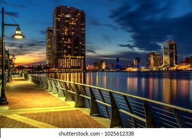 Jacksonville Fl river walk at night sunset