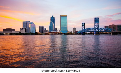 Jacksonville, Florida city skyline over the St. John's River (building logos blurred for commercial use)
