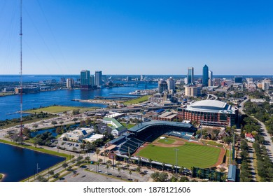 Jacksonville, Florida - December 18, 2020: Aerial view of 121 Financial Ballpark.
