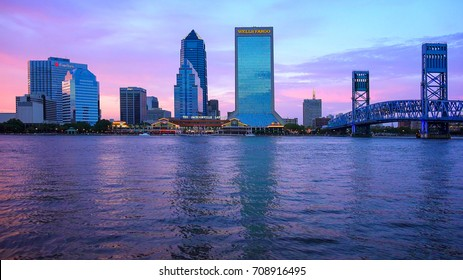 JACKSONVILLE, FLORIDA - JUNE 17th: Downtown Jacksonville skyline at sunset across the St. John's River in Jacksonville, Florida on June 17th, 2016.