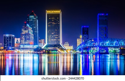 JACKSONVILLE, FLORIDA - JUNE 23: The Jacksonville skyline at night reflecting in St. John's River on June 23, 2014 in Jacksonville, Florida. Jacksonville is a large port city and tourist destination.