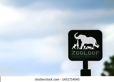 Jacksonville Florida on June 13, 2019. Illustrative editorial of a sign at the zoo.