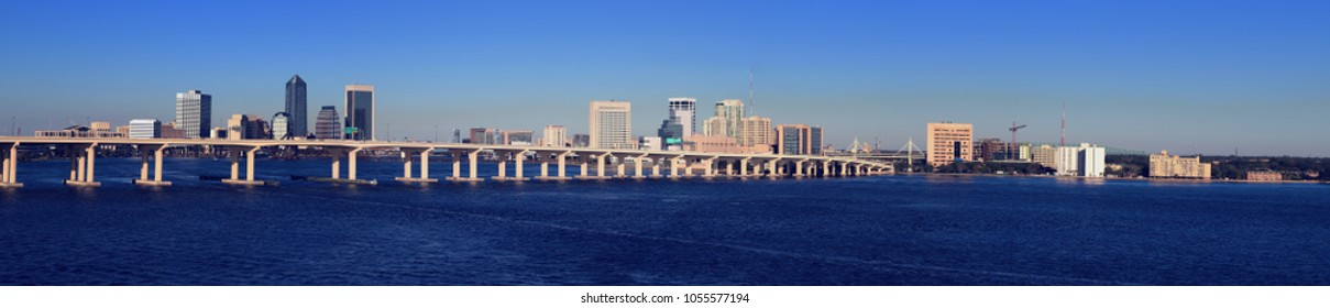 Jacksonville Florida Panoramic with buildings, bridge and the St Johns river
