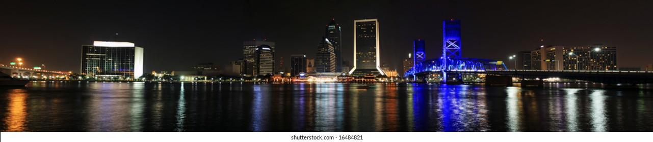 Jacksonville Florida Skyline as seen at night. Panorama