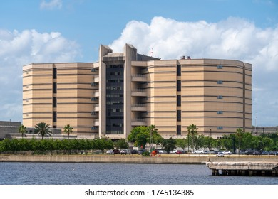 Jacksonville, Florida / United States - 5/30/2020: View of the Jacksonville jail taken from a boat in the St. Johns River.
