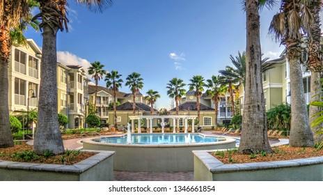 Jacksonville, Florida / United States - January 23, 2019: Gardens of Bridgehampton Luxury Condominium Complex
