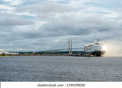 Jacksonville, Florida / United States - June 6, 2020:  Cargo ship caught on fire at JaxPort. JFRD and other first responders on scene.