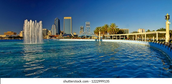 JACKSONVILLE, FLORIDA, US - OCTOBER 26, 2017 : Landscape of Jacksonville downtown in Florida, USA