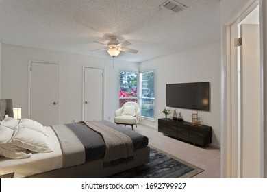 Jacksonville, Florida / USA - April 3 2020: Virtually staged bedroom with a nice window