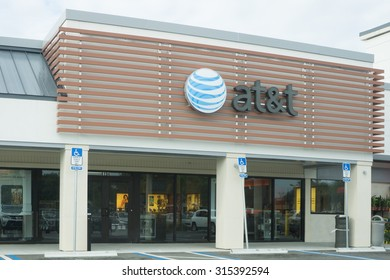 JACKSONVILLE, FLORIDA, USA - AUGUST 02, 2015: An AT&T Mobility sign in Jacksonville. AT&T Mobility is the second largest wireless telecommunications provider in the United States and Puerto Rico.