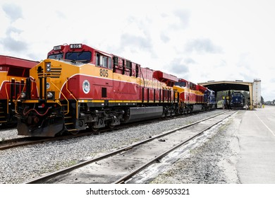 JACKSONVILLE, FLORIDA, USA - MARCH 13 2015: Florida east coast railway locomotives