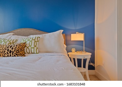 Jacksonville, Florida / USA - March 25 2020:  Bedroom in a nice vacation rental home