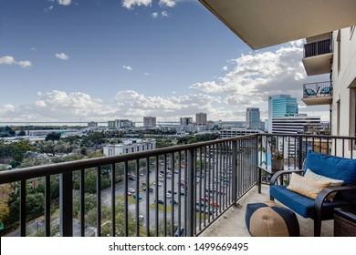Jacksonville, Florida / USA - September 8 2019: Balcony in Hotel