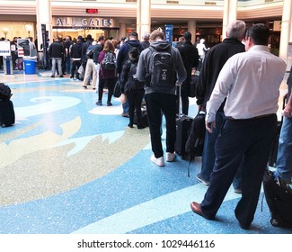 JACKSONVILLE, FLORIDA-FEBRUARY 5, 2018:  Travelers waiting in the long security lines at Jacksonville International airport.