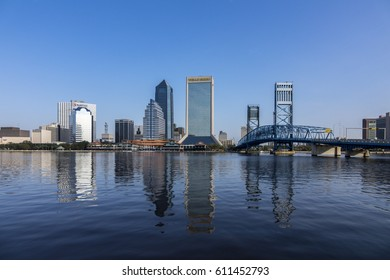 JACKSONVILLE, FLORIDA/USA - NOVEMBER 01, 2016: Jacksonville skyline with reflections of skyscrapers. Jacksonville is the largest city in the U.S. state of Florida.