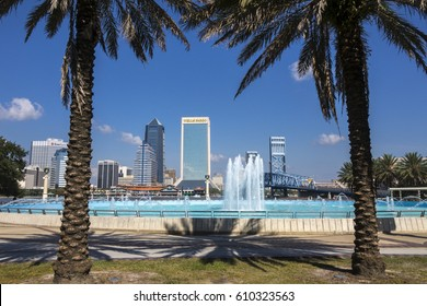 JACKSONVILLE, FLORIDA/USA - NOVEMBER 02, 2016: Jacksonville skyline through palm trees. Jacksonville is the largest city in the U.S. state of Florida.