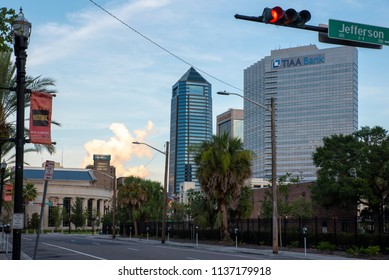 Jacksonville, FL/USA- 07/12/2018: A look at some buildings in downtown Jacksonville from street level.
