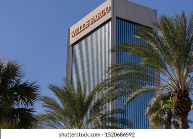 Jacksonville, FL/USA, October 2, 2019: The Wells Fargo Center skyscraper downtown Jacksonville, FL. It is at the corner of Bay and Laura Streets.