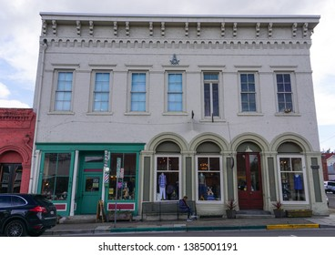 Jacksonville, Oregon USA - March 28, 2019: Masonic building, built in 1874 by Order of Masons Warren 10 Lodge at the corner of California and Oregon Streets in the Jacksonville Historic District