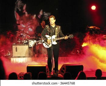 JACKSONVILLE, OR - SEPTEMBER 1: Singer Chris Isaak performs on stage at Britt Festival September 1, 2009 in Jacksonville, Oregon.