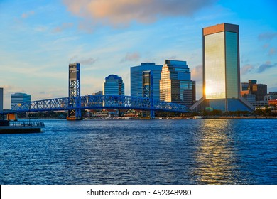Jacksonville skyline evening with blue river reflection in florida USA