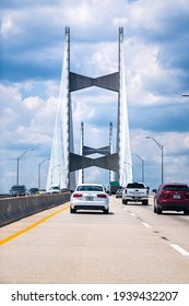 Jacksonville, USA - May 10, 2018: Cars on Dames Point or Napoleon Bonaparte Broward suspension cable-stayed bridge over St. Johns River in Florida Interstate 295 East Beltway