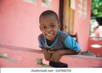Jacmel / Haiti - May 29 2015: Smiling Little Boy In Jacmel