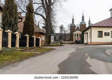 Jacmierz/Poland - 02.16.2018: Very old polish village Jacmierz with the wooden houses. Southern Poland