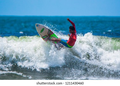 Jaco Beach, Costa Rica, October 20,02018: PUNTO SURF AND QUIKSILVER local surfing tournament