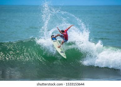 Jaco Beach, Costa Rica, September 28, 2019: Third round of the National Junior Surf Championship, Costa Rica 2019.