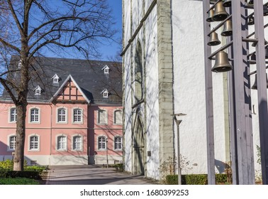 Jacobi church and pink building in Lippstadt, Germany