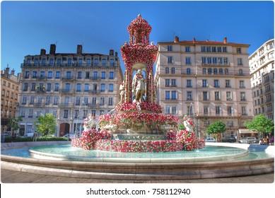 Jacobins square during roses celebration, Lyon, France