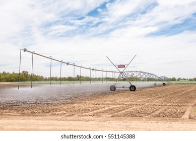 JACOBSDAL, SOUTH AFRICA - DECEMBER 24, 2016: A center pivot irrigation system in a corn field using rotator style pivot applicator sprinklers near Jacobsdal in the Free State Province of South Africa