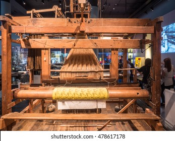 Jacquard loom is a power loom that simplifies the process of manufacturing textiles with such complex patterns as brocade, damask and matelasse.