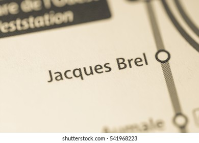 Jacques Brel Station. Brussels Metro map.
