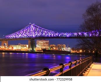 Jacques Cartier Bridge illuminated at night