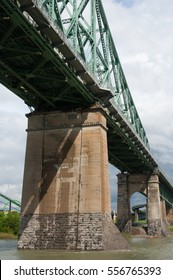 Jacques Cartier bridge (Pont Jacques Cartier) the steel truss cantilever bridge that crosses the Saint Lawrence River, connecting Montreal Island to the south shore at Longueuil, Quebec, Canada.