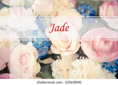 Jade  - Abstract information to represent Merry Christmas and Happy new year as concept. The word Jade  is a part of Merry Christmas and Happy new year celebration vocabulary in stock photo.