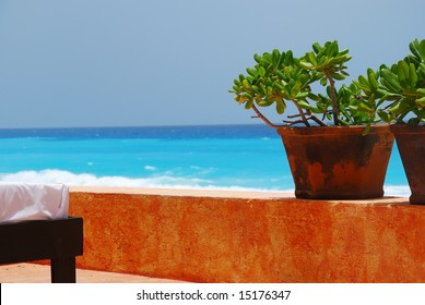 Jade plants and spa bed with caribbean ocean in background