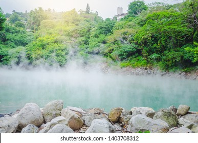 The jade-like hot spring at Beitou Thermal Valley is releasing sulphuric steam. The Geothermal Valley has a temperature between 80 to 100 degrees Celsius in  Taipei, Taiwan