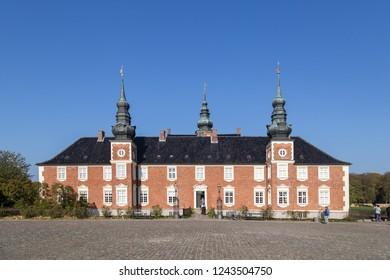 Jaegerspris, Denmark - October 14, 2018: Extrior view of Jaegerspirs Castle, which is located close to Frederikssund