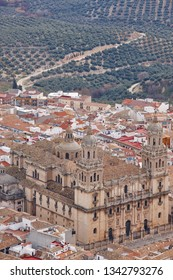 Jaen cathedral and olive fields. Travel in Spain. Vertical