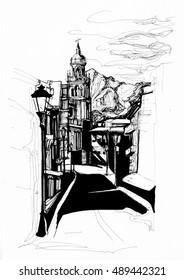 Jaen city Andalucia sketch