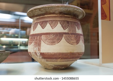 Jaen, Spain - December 29th, 2017: Iberian clay decorated with geometric forms in red at Jaen Museum